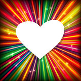 Abstract background with colorful rays and heart Royalty Free Stock Image