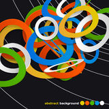 Abstract background of colorful rings in space.  stock illustration