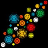 Abstract background with colorful round shapes. Abstract black background with colorful round shapes Stock Photography