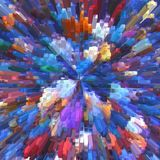 Abstract background of colorful square posts, similar to a high-rise building skyscrapers in the big city Stock Photos