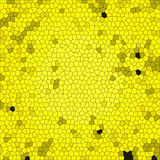 Abstract background with colorful texture. Yellow honeycomb square tile. Outlined ornament with yellow and black dots. Irregular natural pattern. Digital Vector Illustration