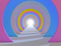 Abstract background colorful tunnel interior. 3d. Render illustration Royalty Free Stock Images