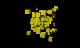 Abstract background composed of cubes, 3d. Render stock illustration