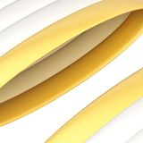 Abstract background composition. Of glossy white and golden band strips over the white background Stock Images