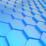 Abstract background composition. Made of blue plastic hexagon shapes Royalty Free Stock Images