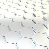 Abstract background composition. Made of chrome metal hexagon shapes Royalty Free Stock Image