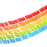 Abstract background composition. Made of colorful glossy bent square blocks against the white background Stock Photos