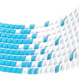 Abstract background composition. Made of glossy white and blue bent square blocks against the white background Stock Photos