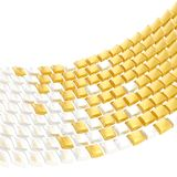 Abstract background composition. Made of glossy white and golden bent square blocks against the white background stock illustration