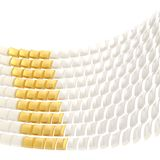 Abstract background composition. Made of glossy white and golden bent square blocks against the white background Royalty Free Stock Photography