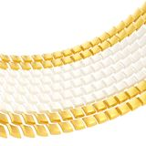 Abstract background composition. Made of glossy white and golden bent square blocks against the white background Royalty Free Stock Photos