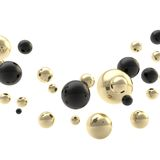 Abstract background composition made of spheres. Abstract backdrop composition made of black and golden shiny glossy spheres on white background Royalty Free Stock Image