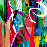 Abstract background composition. With paint strokes, splashes and squares royalty free illustration
