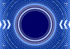 Abstract background - concentric circles, halftone and arrows in. Complex blue abstract background: template - concentric circles, halftone and arrows on blue in Stock Image