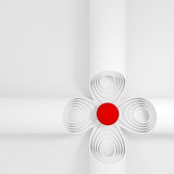Abstract background with concentric circles, tubes. Abstract background with concentric circles, tubes and ball in the center stock illustration