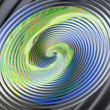 Abstract background of concentric spirals and circles creating an illusion of movement. Green, blue, gray, white, orange and gold vortex resembling molten metal royalty free illustration