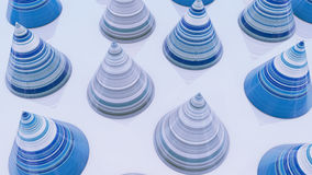 Abstract background with cones, 3D rendering, stretched pixels  Royalty Free Stock Photo