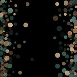 Abstract background confetti transparent dots. Abstract black background with golden and blue confetti transparent dots. Elements of different size and color Royalty Free Stock Photos