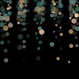Abstract background confetti transparent dots. Abstract black background with golden and blue confetti transparent dots. Elements of different size and color Stock Images