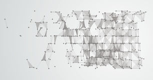 Abstract Background Connected Dots Cube LowPoly. Abstract cube with connected dots and polygons Royalty Free Stock Photos