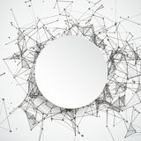 Abstract Background Connected Dots Paper Circle. Abstract background with connected dots and paper circle Royalty Free Stock Photo