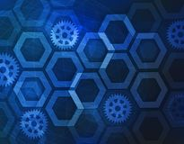 Abstract background with connected lines and dots for your design. Hexagons of honeycomb cell, lines and connections on. A light background. Technology concept Royalty Free Stock Photos