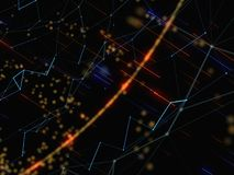 Abstract Background With Connecting Dots And Lines. Abstract Polygonal Space Low Poly Dark Background With Connecting Dots And Lines. 3D Rendering Stock Photos