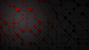 Abstract background of connecting lines and dots. Abstract illustration of red connecting lines and dots with shadows on black background vector illustration