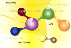 Abstract background connection symbols. Protons and neutrons vector illustration