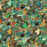 Abstract background consisting of fish and flowers. Vector Stock Images
