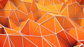 Abstract background consisting of triangles and spheres. Abstract background consisting of orange triangles, spheres and curves of different shades Stock Photo