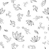Abstract background, contours. Abstract seamless background with graphic floral pattern, monochrome contours. Vector Royalty Free Stock Photography