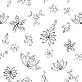 Abstract background, contours. Abstract seamless background with graphic floral pattern, monochrome contours. Vector Stock Illustration