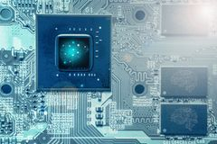 CPU chipset with artificial intelligent capability on computer board. Abstract background of CPU chipset with artificial intelligent capability on computer board stock photos
