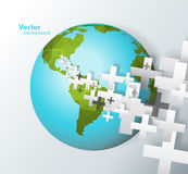 Abstract background created with plus signs. And polygonal 3d effect globe Stock Image