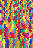 Abstract background with crowd of people. Abstract colorful background with people silhouettes vector illustration