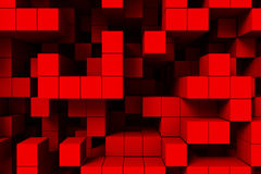 Abstract background red cubes 3d. Abstract 3d background of red cubes or blacks with dark background Stock Photos