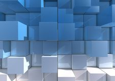 Abstract background of cubes. Abstract background of stacked blue and white cubes royalty free illustration