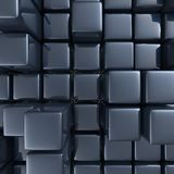 Abstract background of cubes. In black toned. 3d rendering Stock Photos