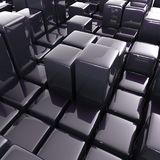 Abstract background of cubes. In black toned. 3d rendering Royalty Free Stock Photo
