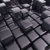 Abstract background of cubes. In black toned. 3d rendering Royalty Free Stock Photography