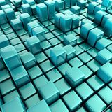 Abstract background of cubes. In blue toned 3d rendering Stock Photo