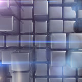 Abstract background of cubes. In gray toned. 3d rendering Royalty Free Stock Image