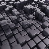 Abstract background of cubes. In black toned. 3d rendering Royalty Free Stock Images