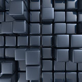 Abstract background of cubes. In black toned. 3d rendering Royalty Free Stock Photos