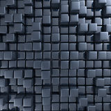 Abstract background of cubes. In black toned. 3d rendering Royalty Free Stock Image