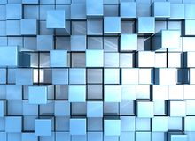 Abstract background - cubes blue. Abstract Background - blue metallic cubes vector illustration
