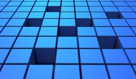 Abstract background of cubes in blue color. 3D illustration. Abstract background of cubes in blue toned. 3D illustration royalty free illustration