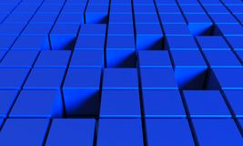 Abstract background of cubes in blue color. 3D illustration. Abstract background of cubes in blue toned. 3D illustration stock illustration