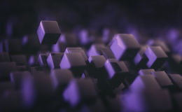 Abstract Background Cubes. 3D illustration. Abstract background with cubes floating without gravity Stock Photography